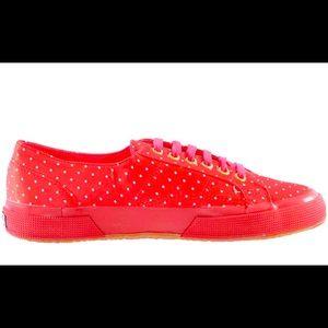 Superga Size 10 Ladies Polka Dot Leather shoes NWT